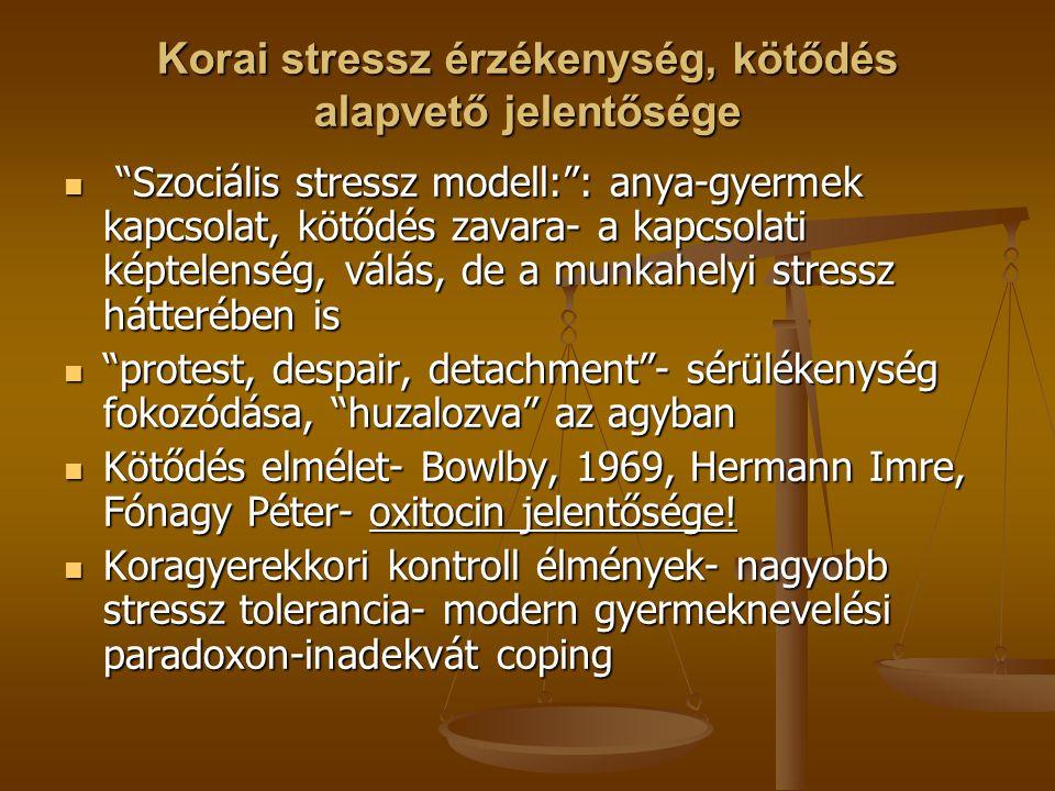 """Korai stressz érzékenység, kötődés alapvető jelentősége """"Szociális stressz modell:"""": anya-gyermek kapcsolat, kötődés zavara- a kapcsolati képtelenség,"""