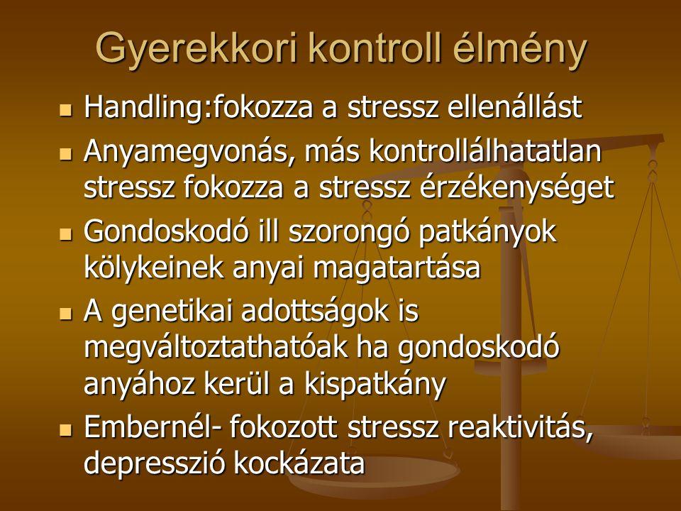 Gyerekkori kontroll élmény Handling:fokozza a stressz ellenállást Handling:fokozza a stressz ellenállást Anyamegvonás, más kontrollálhatatlan stressz