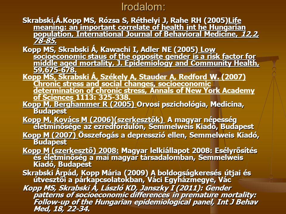 Irodalom: Skrabski,Á.Kopp MS, Rózsa S, Réthelyi J, Rahe RH (2005)Life meaning: an important correlate of health int he Hungarian population, Internati