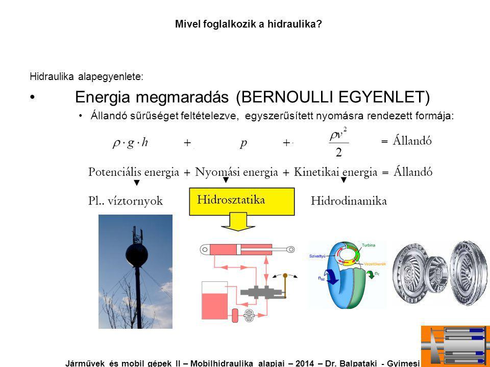 Hidraulika alapegyenlete: Energia megmaradás (BERNOULLI EGYENLET) Állandó sűrűséget feltételezve, egyszerűsített nyomásra rendezett formája: Mivel foglalkozik a hidraulika.
