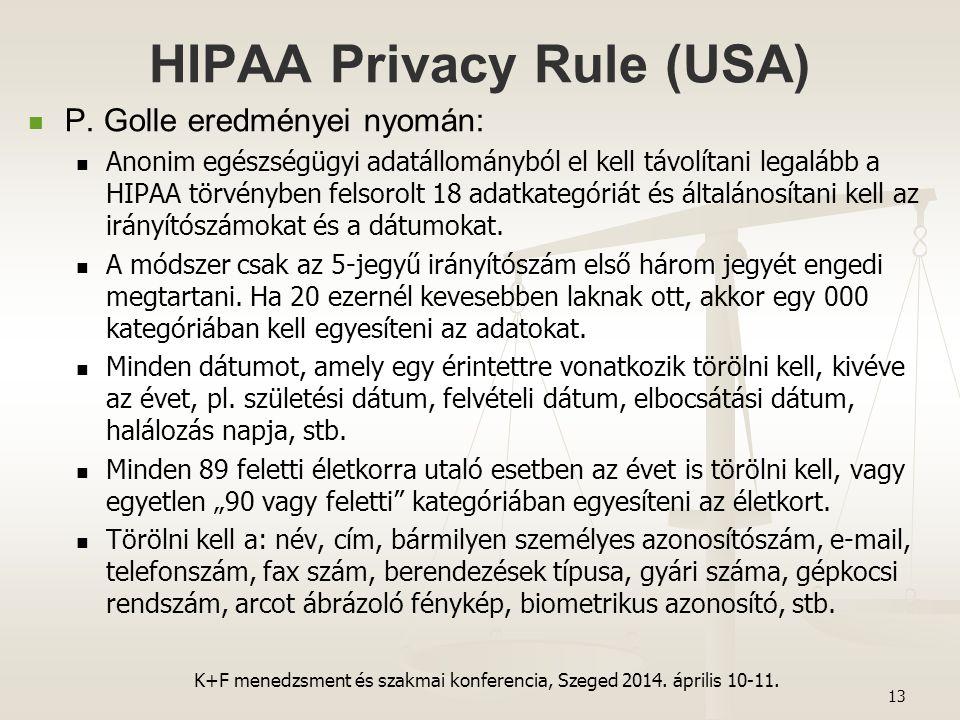 HIPAA Privacy Rule (USA) P. Golle eredményei nyomán: Anonim egészségügyi adatállományból el kell távolítani legalább a HIPAA törvényben felsorolt 18 a