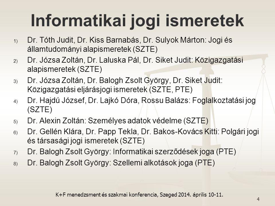 Informatikai jogi ismeretek 1) 1) Dr. Tóth Judit, Dr. Kiss Barnabás, Dr. Sulyok Márton: Jogi és államtudományi alapismeretek (SZTE) 2) 2) Dr. Józsa Zo