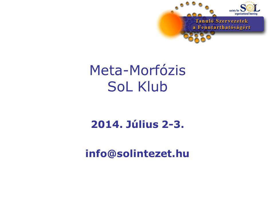 Meta-Morfózis SoL Klub 2014. Július 2-3. info@solintezet.hu