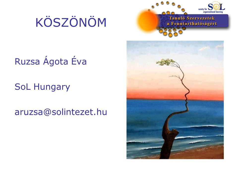 KÖSZÖNÖM Ruzsa Ágota Éva SoL Hungary aruzsa@solintezet.hu