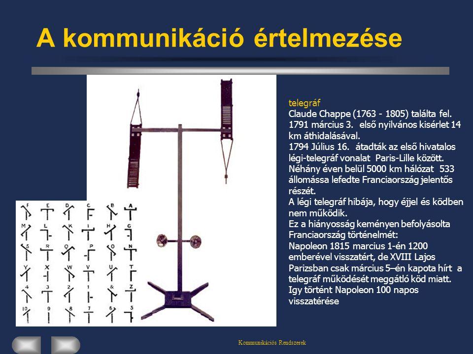 Kommunikációs Rendszerek A kommunikáció értelmezése telegráf Claude Chappe (1763 - 1805) találta fel. 1791 március 3. első nyilvános kisérlet 14 km át