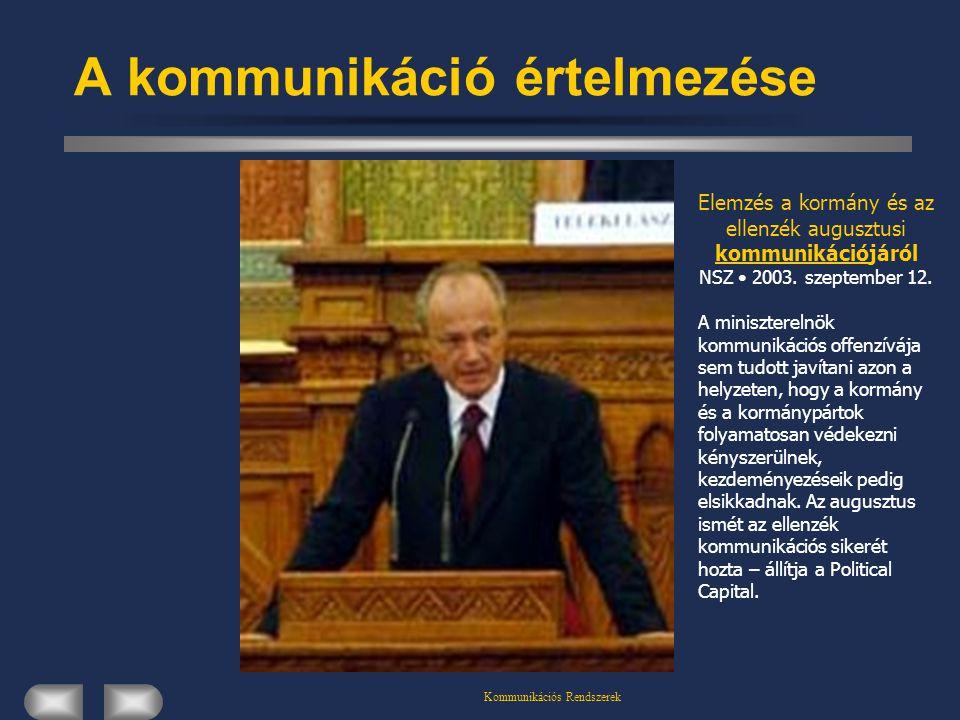 Kommunikációs Rendszerek A kommunikáció értelmezése Elemzés a kormány és az ellenzék augusztusi kommunikációjáról NSZ 2003. szeptember 12. A miniszter