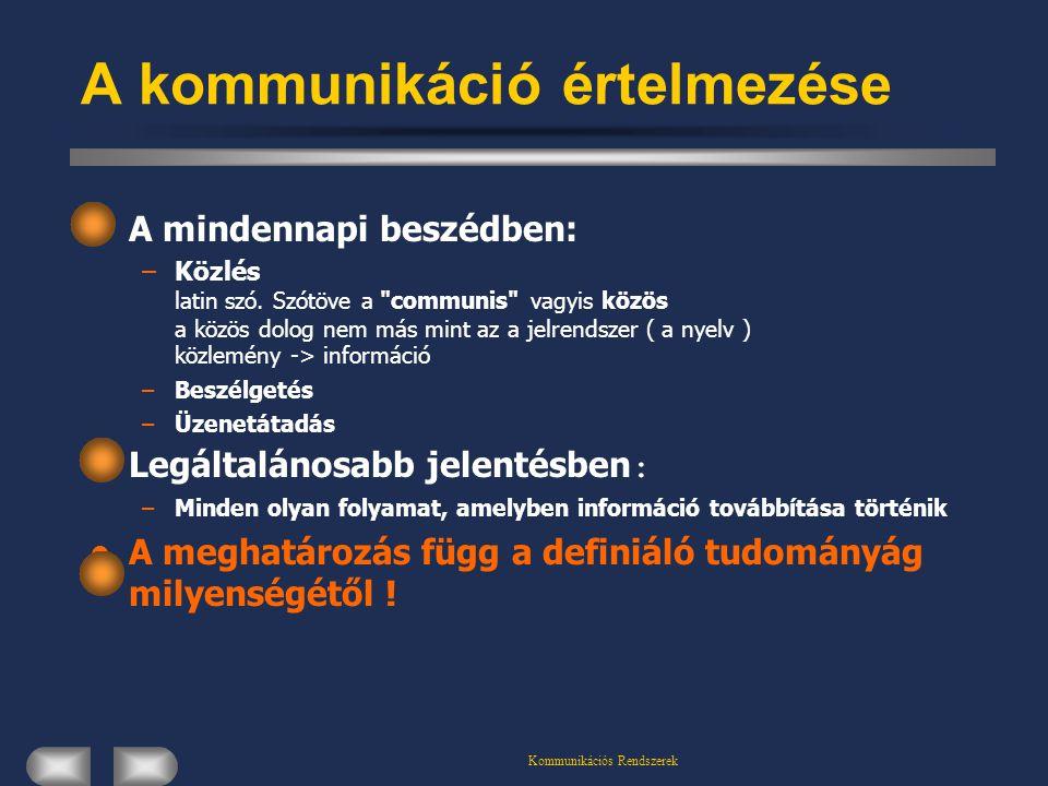 Kommunikációs Rendszerek A kommunikáció értelmezése A mindennapi beszédben: –Közlés latin szó. Szótöve a
