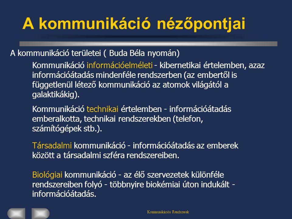 Kommunikációs Rendszerek A kommunikáció nézőpontjai Kommunikáció információelméleti - kibernetikai értelemben, azaz információátadás mindenféle rendszerben (az embertől is függetlenül létező kommunikáció az atomok világától a galaktikákig).