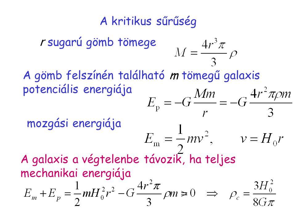 A kritikus sűrűség r sugarú gömb tömege A gömb felszínén található m tömegű galaxis potenciális energiája mozgási energiája A galaxis a végtelenbe távozik, ha teljes mechanikai energiája