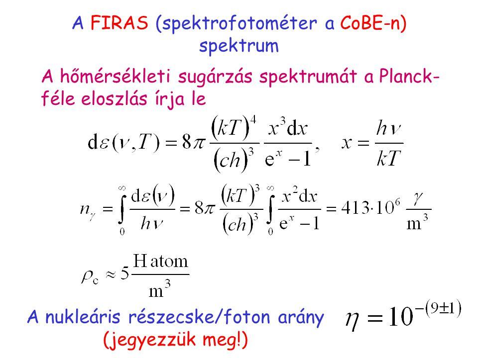 A FIRAS (spektrofotométer a CoBE-n) spektrum A hőmérsékleti sugárzás spektrumát a Planck- féle eloszlás írja le A nukleáris részecske/foton arány (jegyezzük meg!)