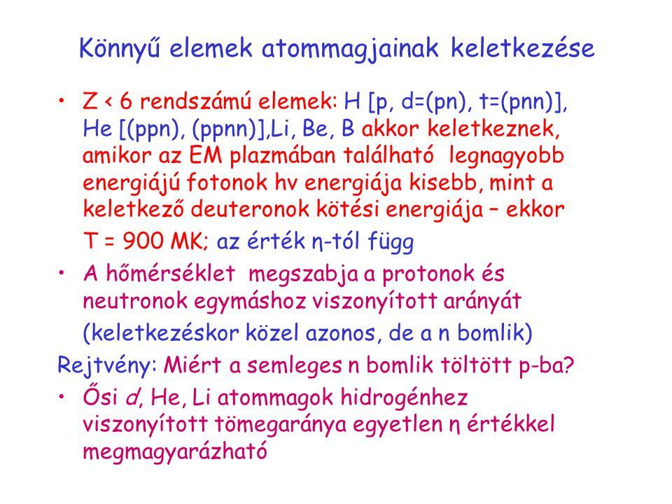 Könnyű elemek atommagjainak keletkezése Z < 6 rendszámú elemek: H [p, d=(pn), t=(pnn)], He [(ppn), (ppnn)],Li, Be, B akkor keletkeznek, amikor az EM plazmában található legnagyobb energiájú fotonok hν energiája kisebb, mint a keletkező deuteronok kötési energiája – ekkor T = 900 MK; az érték η-tól függ A hőmérséklet megszabja a protonok és neutronok egymáshoz viszonyított arányát (keletkezéskor közel azonos, de a n bomlik) Rejtvény: Miért a semleges n bomlik töltött p-ba.
