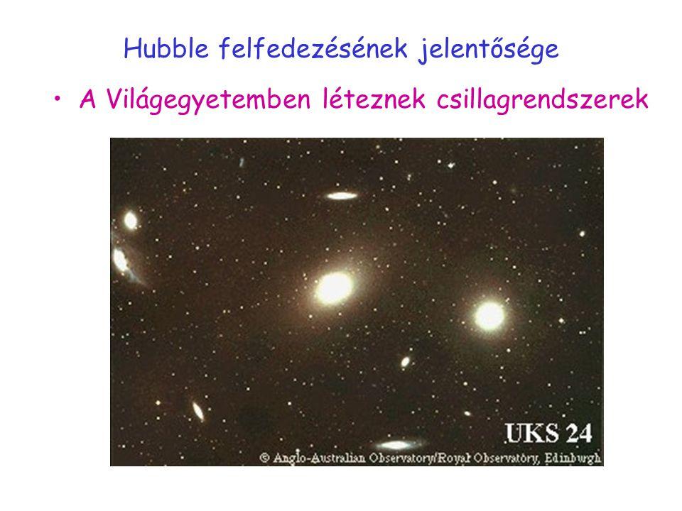 A Hubble-törvény v = H 0 r H 0 =100 h (km/s) /Mpc=9,78 h/Gévh=0,7 Rejtvény: mit ad meg H 0 reciproka?