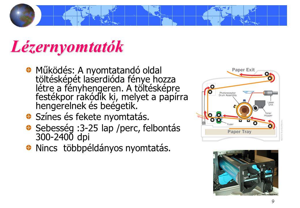 10 Nyomtató nyelvek A számítógépes alkalmazások és a nyomtatók közti kommunikáció szabványos parancskészletű vezérlési szerkezeteken keresztül töténik.