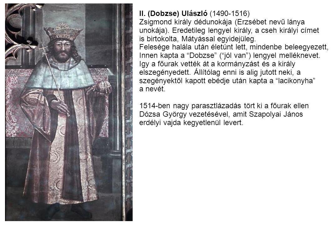 II. (Dobzse) Ulászló (1490-1516) Zsigmond király dédunokája (Erzsébet nevű lánya unokája). Eredetileg lengyel király, a cseh királyi címet is birtokol