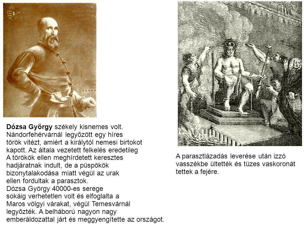 Dózsa György székely kisnemes volt. Nándorfehérvárnál legyőzött egy híres török vitézt, amiért a királytól nemesi birtokot kapott. Az általa vezetett
