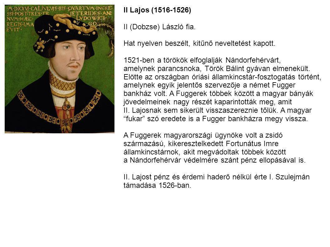 II Lajos (1516-1526) II (Dobzse) László fia. Hat nyelven beszélt, kitűnő neveltetést kapott. 1521-ben a törökök elfoglalják Nándorfehérvárt, amelynek