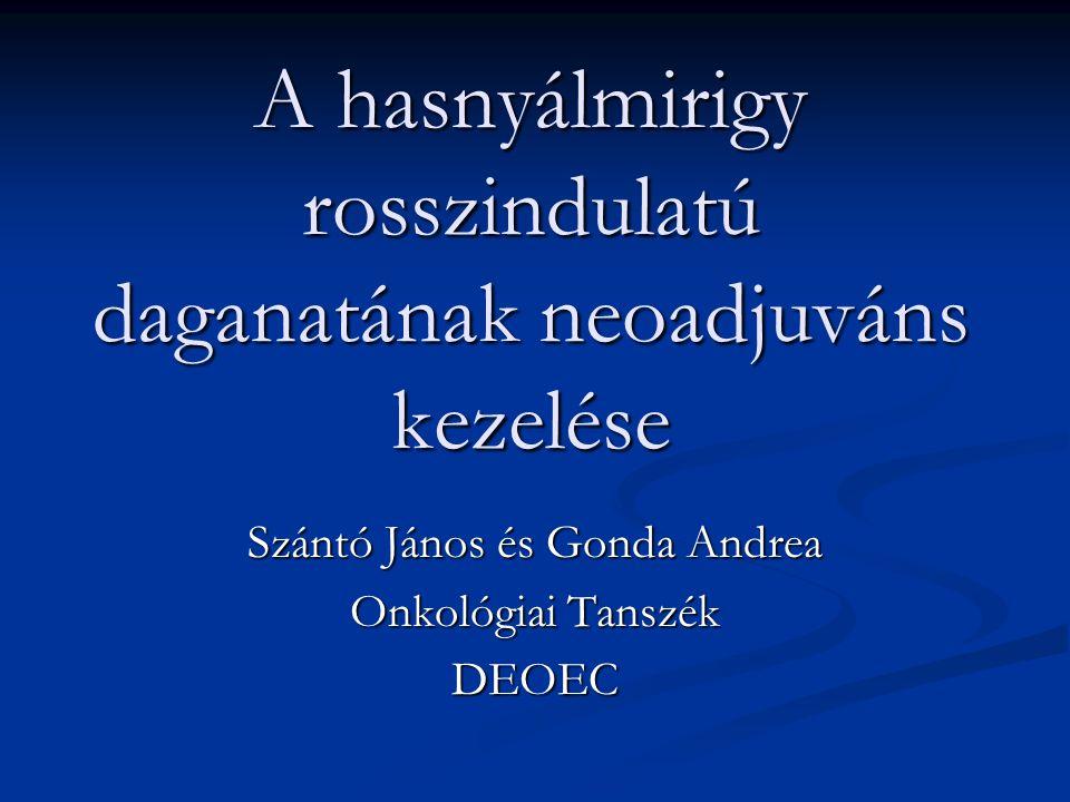 A hasnyálmirigy rosszindulatú daganatának neoadjuváns kezelése Szántó János és Gonda Andrea Onkológiai Tanszék DEOEC