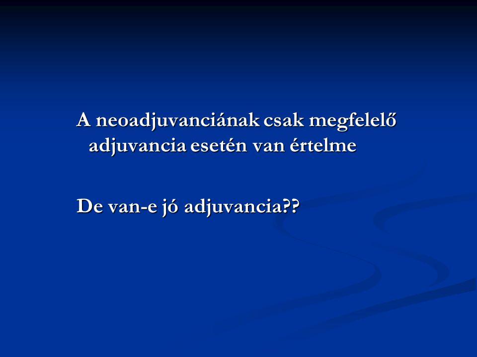 A neoadjuvanciának csak megfelelő adjuvancia esetén van értelme De van-e jó adjuvancia??