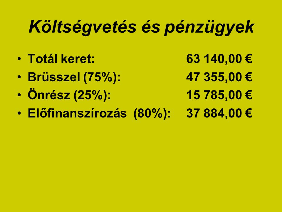 Költségvetés és pénzügyek Totál keret: 63 140,00 € Brüsszel (75%): 47 355,00 € Önrész (25%): 15 785,00 € Előfinanszírozás (80%): 37 884,00 €
