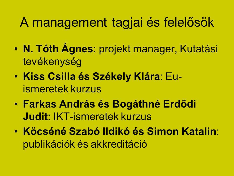 A management tagjai és felelősök N. Tóth Ágnes: projekt manager, Kutatási tevékenység Kiss Csilla és Székely Klára: Eu- ismeretek kurzus Farkas András