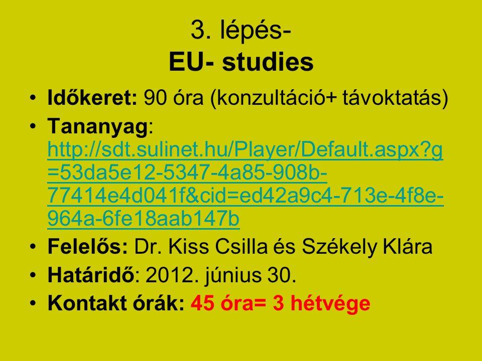 3. lépés- EU- studies Időkeret: 90 óra (konzultáció+ távoktatás) Tananyag: http://sdt.sulinet.hu/Player/Default.aspx?g =53da5e12-5347-4a85-908b- 77414