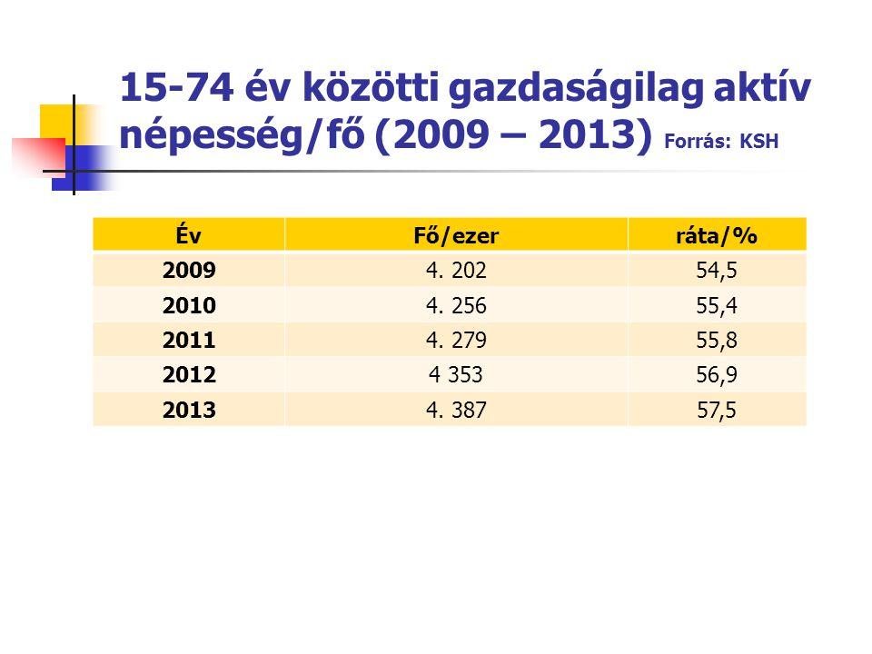 15-74 év közötti gazdaságilag aktív népesség/fő (2009 – 2013) Forrás: KSH ÉvFő/ezerráta/% 20094. 20254,5 20104. 25655,4 20114. 27955,8 20124 35356,9 2