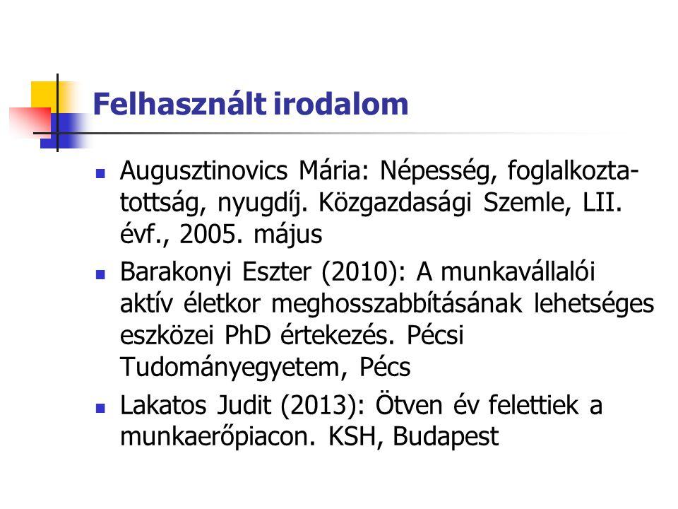 Felhasznált irodalom Augusztinovics Mária: Népesség, foglalkozta- tottság, nyugdíj. Közgazdasági Szemle, LII. évf., 2005. május Barakonyi Eszter (2010