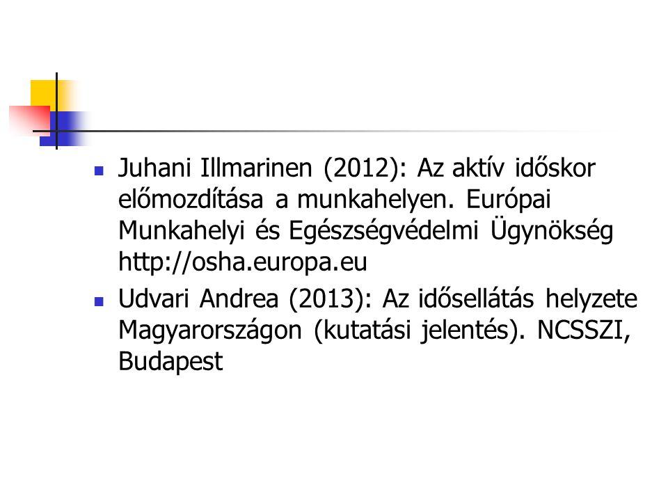 Juhani Illmarinen (2012): Az aktív időskor előmozdítása a munkahelyen. Európai Munkahelyi és Egészségvédelmi Ügynökség http://osha.europa.eu Udvari An