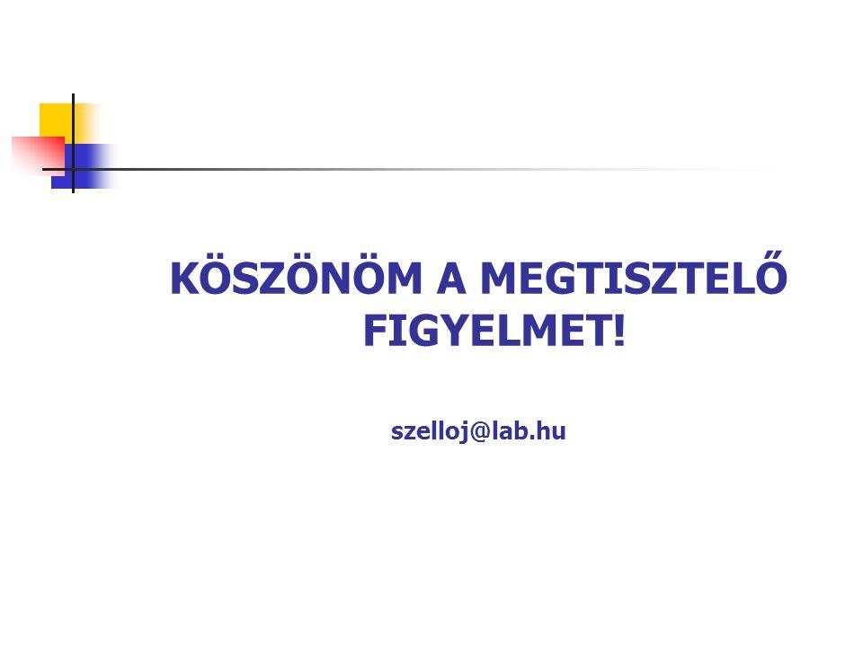 KÖSZÖNÖM A MEGTISZTELŐ FIGYELMET! szelloj@lab.hu