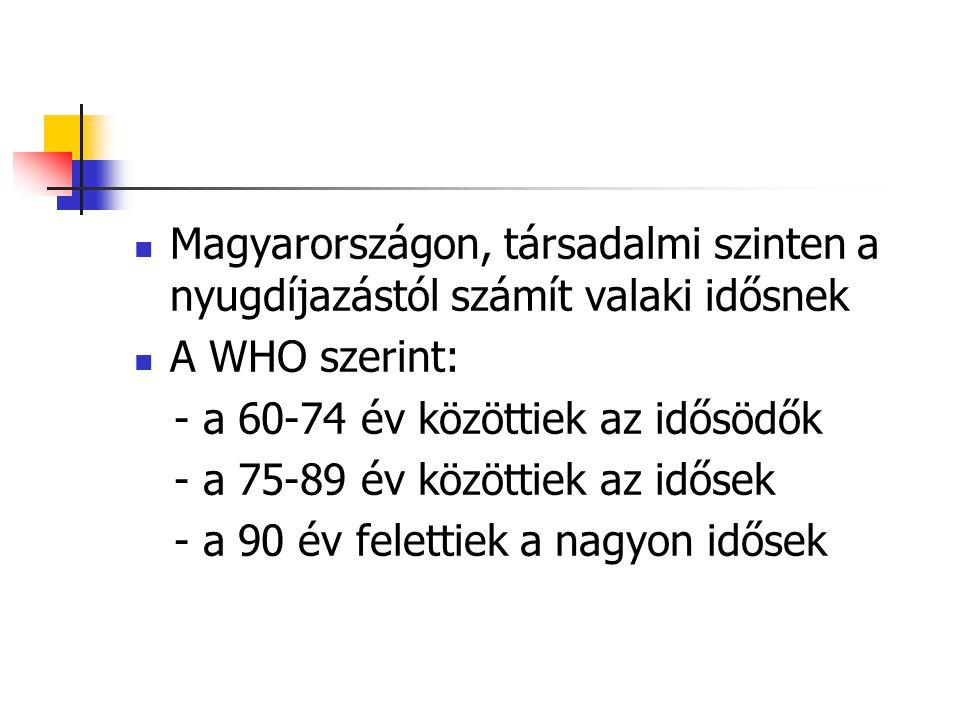 Magyarországon, társadalmi szinten a nyugdíjazástól számít valaki idősnek A WHO szerint: - a 60-74 év közöttiek az idősödők - a 75-89 év közöttiek az