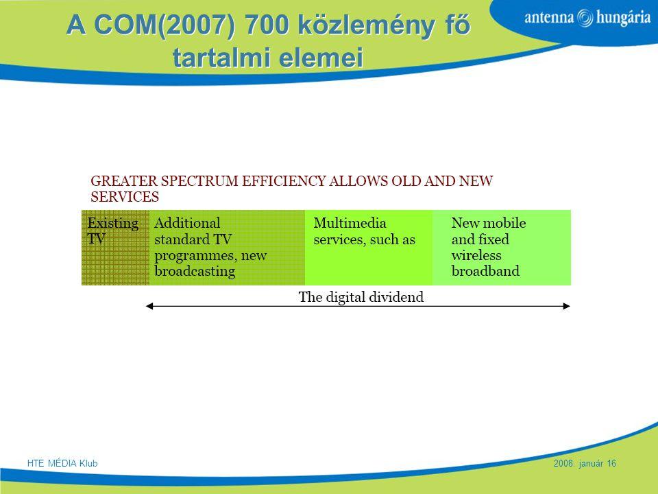 Slide 13 A COM(2007) 700 közlemény fő tartalmi elemei HTE MÉDIA Klub 2008. január 16