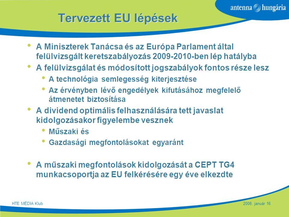 Slide 14 Tervezett EU lépések A Miniszterek Tanácsa és az Európa Parlament által felülvizsgált keretszabályozás 2009-2010-ben lép hatályba A felülvizs