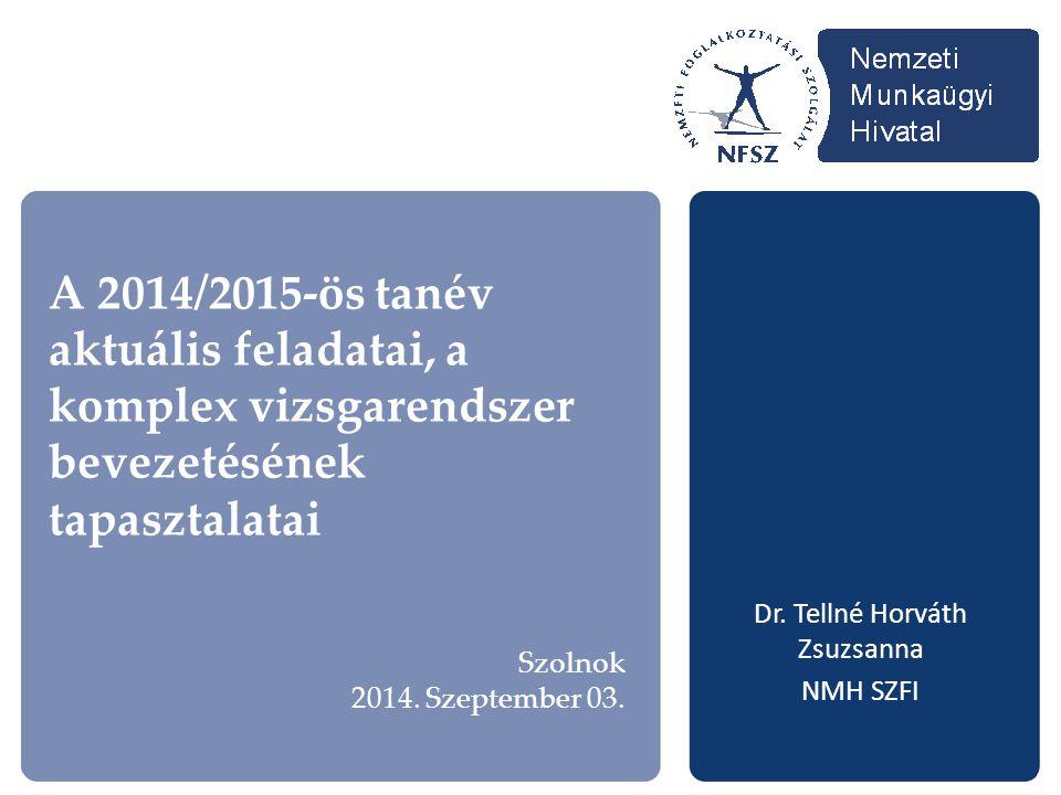 A 2014/2015-ös tanév aktuális feladatai, a komplex vizsgarendszer bevezetésének tapasztalatai Dr. Tellné Horváth Zsuzsanna NMH SZFI Szolnok 2014. Szep