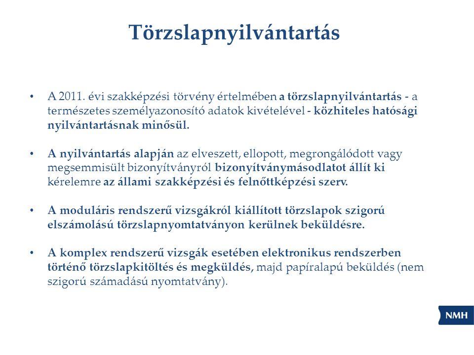Törzslapnyilvántartás A 2011. évi szakképzési törvény értelmében a törzslapnyilvántartás - a természetes személyazonosító adatok kivételével - közhite