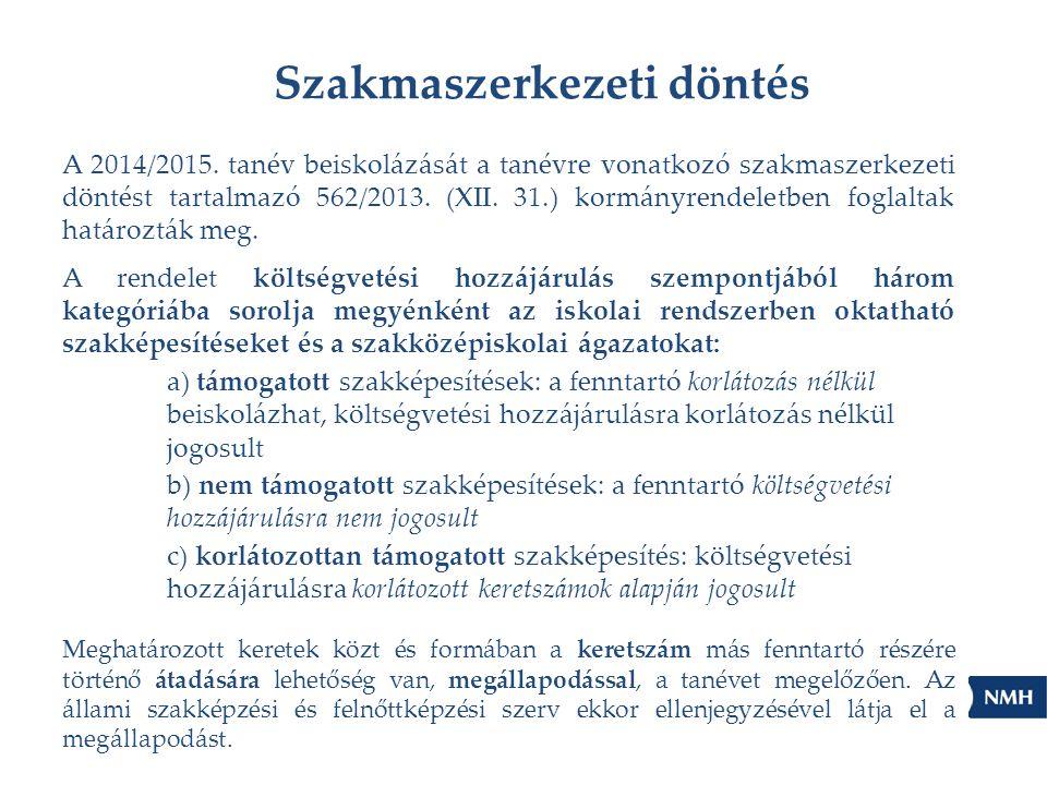 Szakmaszerkezeti döntés A 2014/2015. tanév beiskolázását a tanévre vonatkozó szakmaszerkezeti döntést tartalmazó 562/2013. (XII. 31.) kormányrendeletb