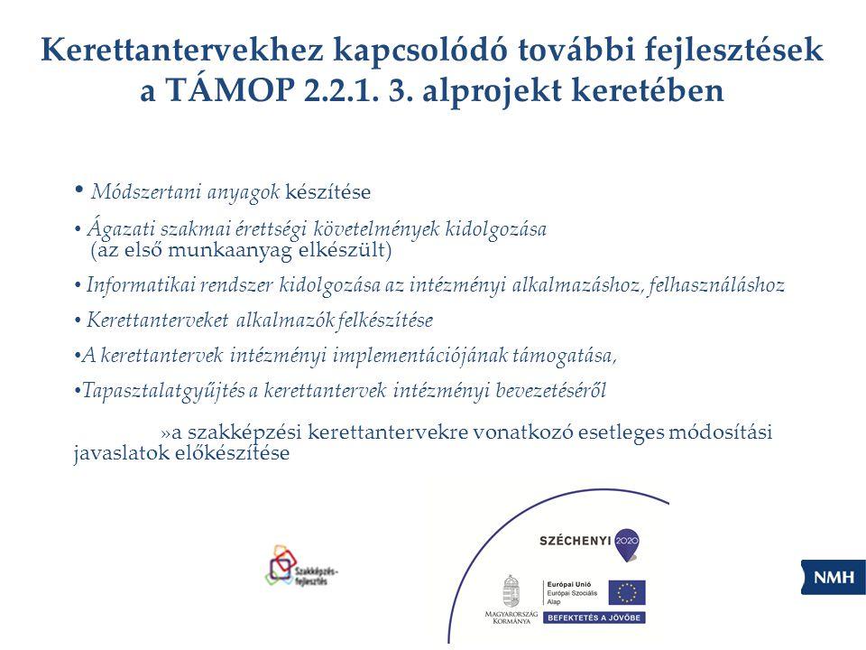Kerettantervekhez kapcsolódó további fejlesztések a TÁMOP 2.2.1. 3. alprojekt keretében Módszertani anyagok készítése Ágazati szakmai érettségi követe