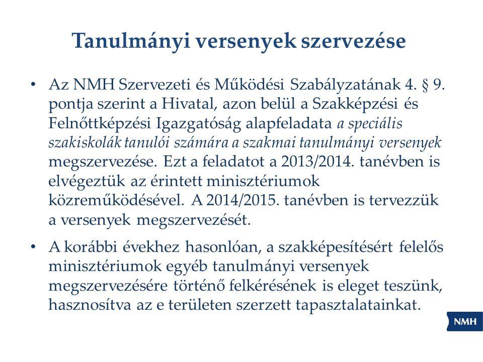 Tanulmányi versenyek szervezése Az NMH Szervezeti és Működési Szabályzatának 4. § 9. pontja szerint a Hivatal, azon belül a Szakképzési és Felnőttképz