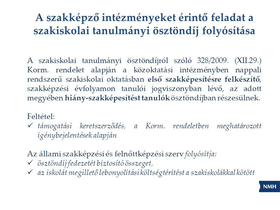 A szakiskolai tanulmányi ösztöndíjról szóló 328/2009. (XII.29.) Korm. rendelet alapján a közoktatási intézményben nappali rendszerű szakiskolai oktatá