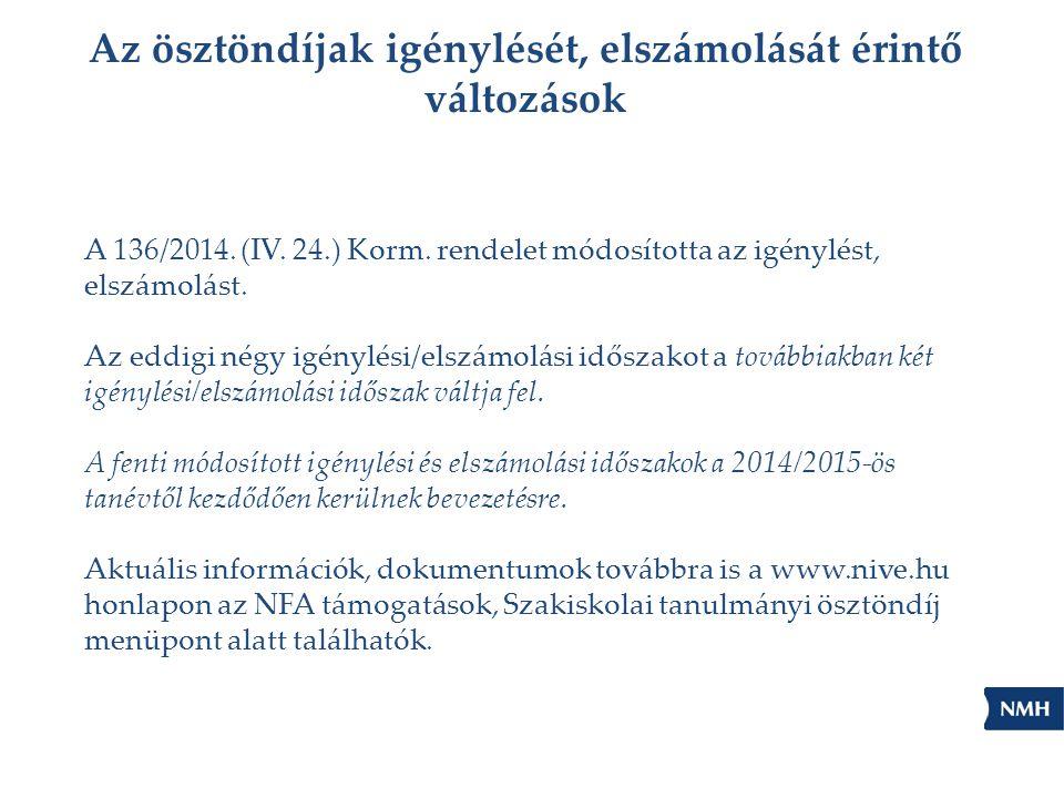 Az ösztöndíjak igénylését, elszámolását érintő változások A 136/2014. (IV. 24.) Korm. rendelet módosította az igénylést, elszámolást. Az eddigi négy i