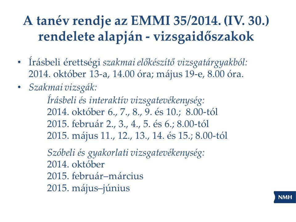 A tanév rendje az EMMI 35/2014. (IV. 30.) rendelete alapján - vizsgaidőszakok Írásbeli érettségi szakmai előkészítő vizsgatárgyakból: 2014. október 13
