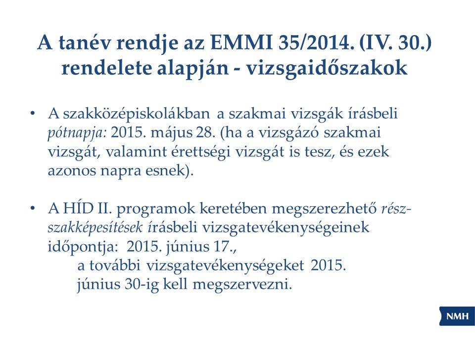 A tanév rendje az EMMI 35/2014. (IV. 30.) rendelete alapján - vizsgaidőszakok A szakközépiskolákban a szakmai vizsgák írásbeli pótnapja: 2015. május 2