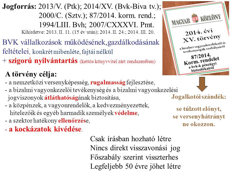 Jogforrás: 2013/V. (Ptk); 2014/XV. (Bvk-Biva tv.); 2000/C. (Sztv.); 87/2014. korm. rend.; 1994/LIII. Bvh; 2007/CXXXVI. Pmt. Kihirdetve: 2013. II. 11.