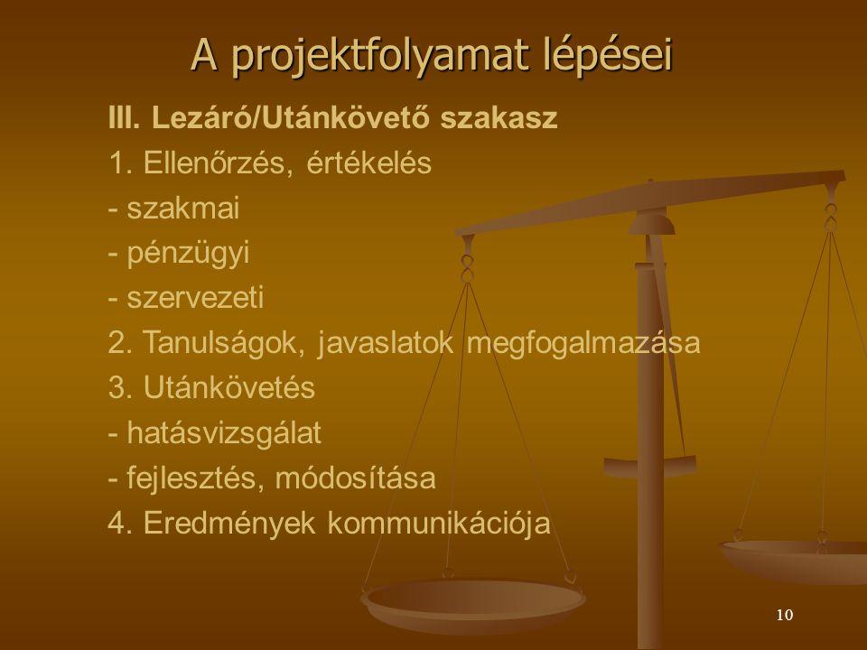 9 A projektfolyamat lépései II.Megvalósítási szakasz 1.
