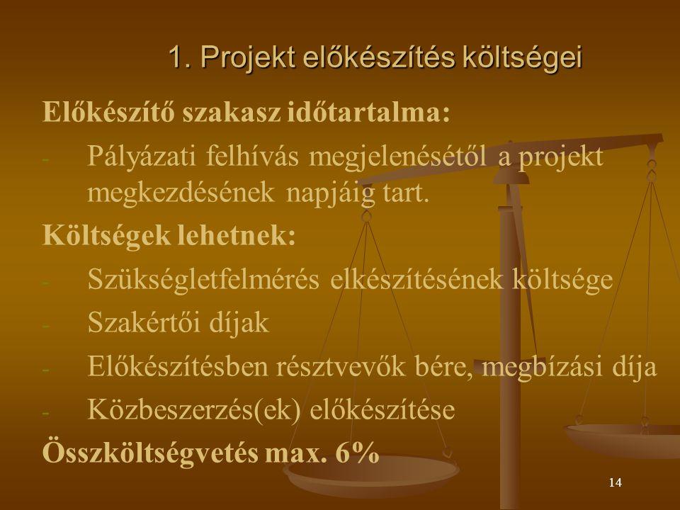 13 Elszámolhatóság kérdései - alapelvek 1.Közvetlenül kapcsolódnak a támogatott projekthez, nélkülözhetetlenek annak elindításához és/vagy végrehajtásához és a projekt elfogadott költségvetésében betervezésre kerültek 2.Szerepelnek a pályázati dokumentáció elszámolható költségek listáján, és nem szerepelnek a nem elszámolható költségek listáján 3.Támogatási szerződés megkötése után és a támogatási szerződésben rögzített megvalósítási időszakban merültek fel.