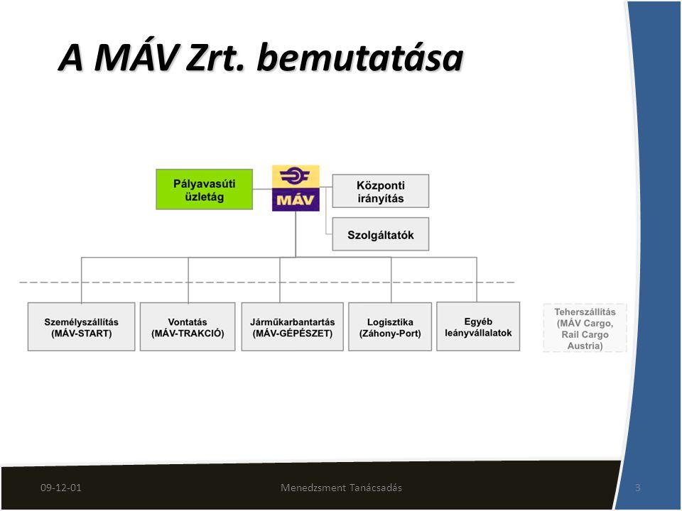 A MÁV Zrt. bemutatása 09-12-013Menedzsment Tanácsadás