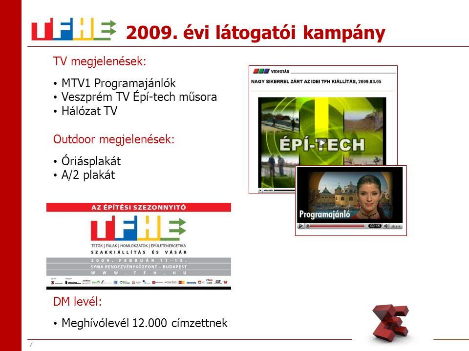 8 On-line megjelenések: TFH+E Hírfutár THF honlap ARCH TV Origo Proidea Épületgépész Mérnök Online Szaklap Kamarai honlapok (mek.hu, mkik.hu) Archicentrum Szövetségek honlapjai 2009.