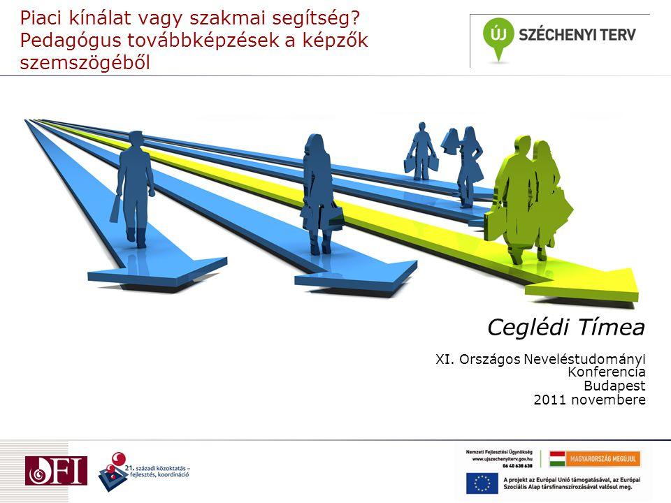 """A kutatás  TÁMOP 311.7.1.11.: """"A tanárok alkalmazásával, bérezésével, szakmai fejlődésével kapcsolatos politikák követése (OFI, kutatásvezető: Sági Matild)  Cél: a pedagógusok munkaerő-piaci helyzetének és szakmai továbbfejlődése gyakorlatának feltárása  Módszer: Félig strukturált interjú  Célcsoport: Pedagógusok (32 fő), igazgatók (32 fő), képzők (21 fő), oktatáspolitikusok és fenntartók (9 fő)  Helyszín: Pest, Vas, Tolna, Baranya és Hajdú-Bihar megyék  Időpont: 2010."""