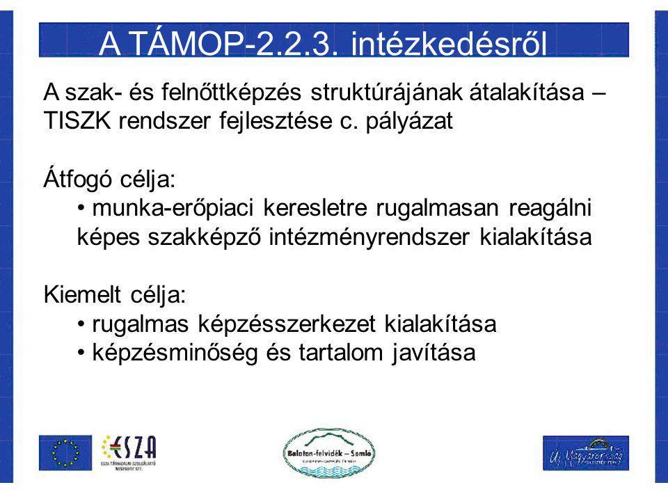 A TÁMOP-2.2.3. intézkedésről A szak- és felnőttképzés struktúrájának átalakítása – TISZK rendszer fejlesztése c. pályázat Átfogó célja: munka-erőpiaci