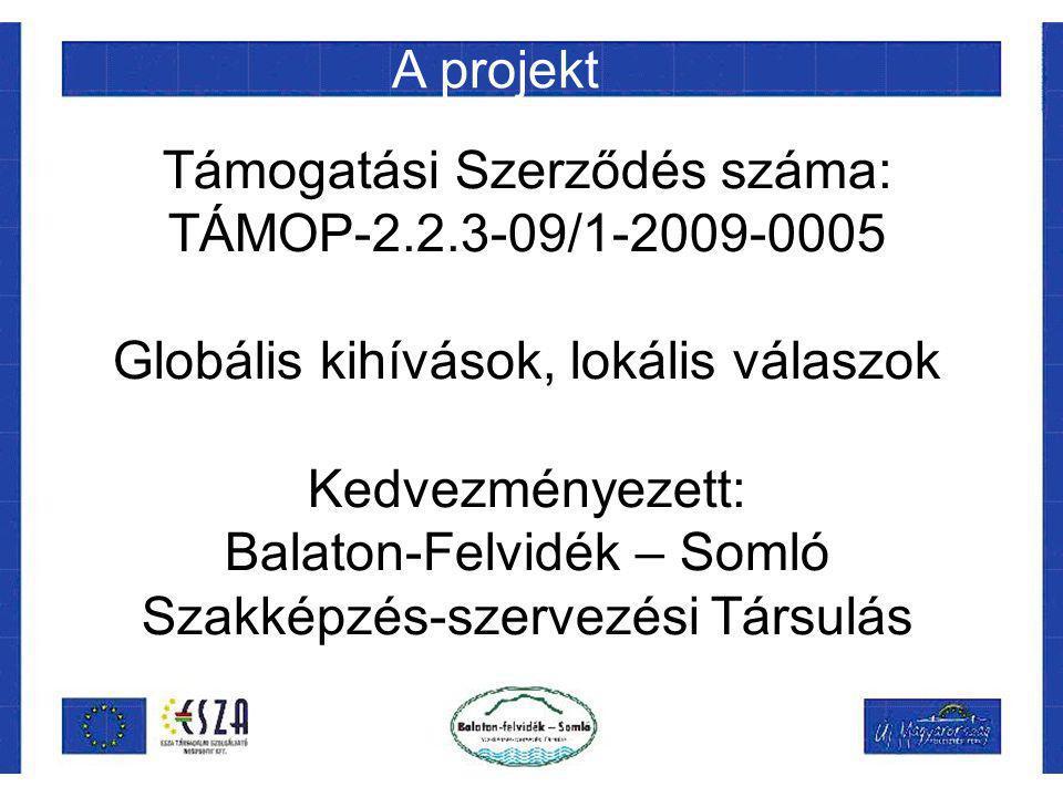 Támogatási Szerződés száma: TÁMOP-2.2.3-09/1-2009-0005 Globális kihívások, lokális válaszok Kedvezményezett: Balaton-Felvidék – Somló Szakképzés-szervezési Társulás A projekt