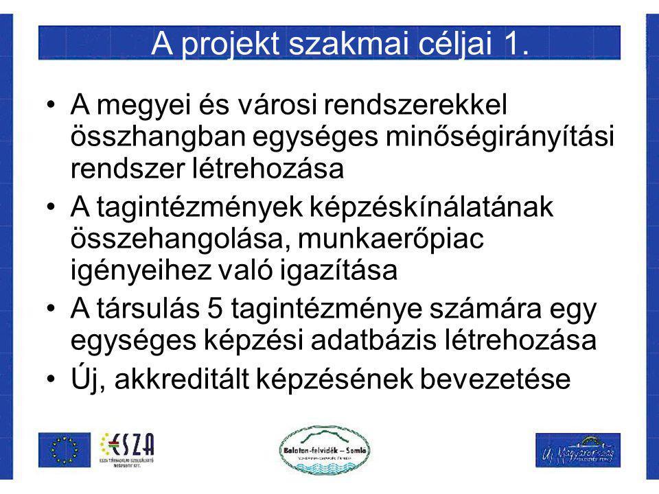A projekt szakmai céljai 1. A megyei és városi rendszerekkel összhangban egységes minőségirányítási rendszer létrehozása A tagintézmények képzéskínála